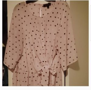 Lane Bryant pink polka dot blouse